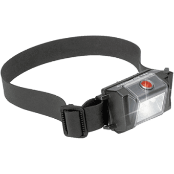 The Pelican 2610 intrinsically safe LED headlamp fitted with rubber strap for helmet mounting